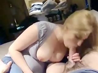 busty blond sucks massive cock
