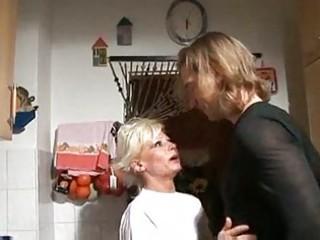 Hot blonde german granny banged in kitchen