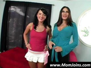 hot brunette hair mommy and daughter team shelia