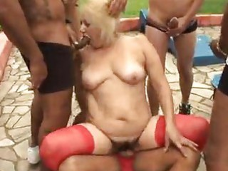 older granny blond victoria group-sex outdoor sex