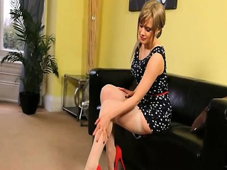 beautiful girl teasing at motel in shoes