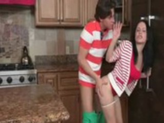 hot legal age teenager couple has sex when mommy