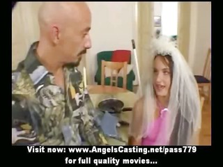 brown haired bride doing blow job