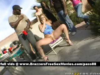 older blonde slut at a party receives a blowjob