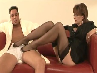 lady sonia teases with nylons