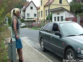 Granny slut is picked up and fucked