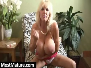 mature blond with massive fake milk sacks