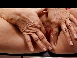 blond granny in stockings fingers