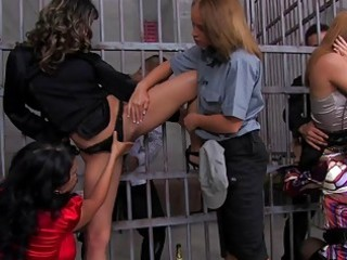 Busty milfs get fucked in prison group sex