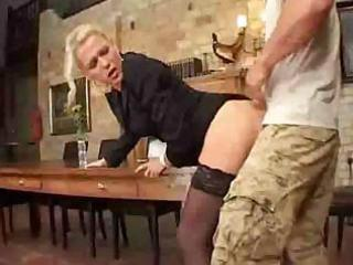 aged mom in nylons sucks pecker and acquires