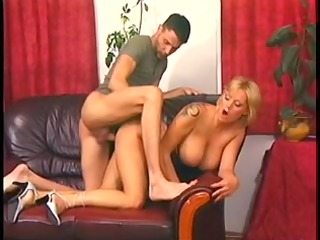 blond mama with flawless jugs pumped on a leather