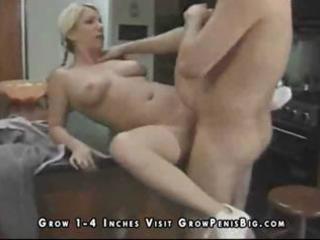 horny golden-haired wife milks his pecker for