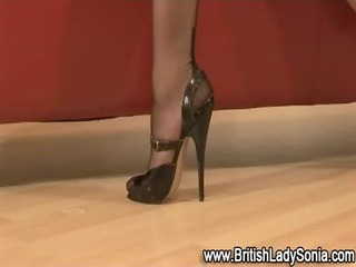 mature stocking femdom footjob
