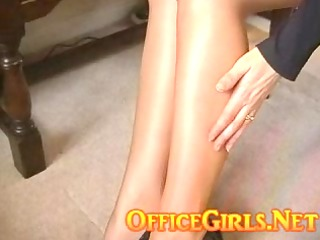 Big Tits British Secretary In Glossy Tan Pantyhose
