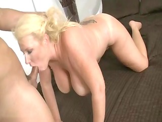 aged blonde slut sucking schlong