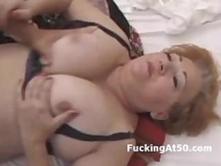 breasty redhead plump grandma drilled by juvenile