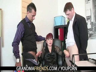 older office bitch enjoys two dongs