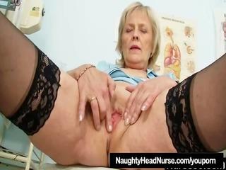 blonde granny nurse self exam with bawdy cleft