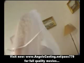 sexy blond milf as bride does oral stimulation