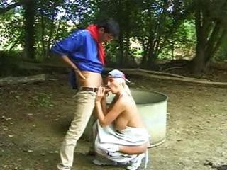 blonde mature hippie chick munches his dick