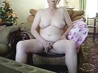 Busty grandma masturbating in front of hubby