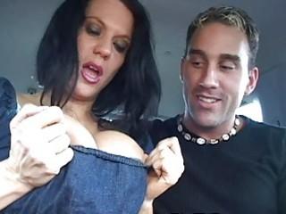 mother i shows huge milk sacks in car and gets