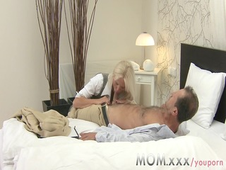 mom golden-haired breasty milf has multiple