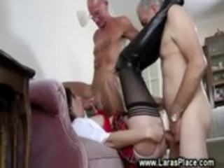 aged lady in stocking copulates old chaps
