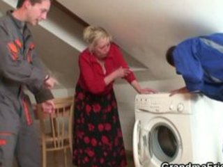 repairmen bang busty grandma from the one and