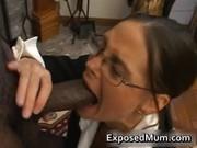 Hot Milf in glasses deepthroating black