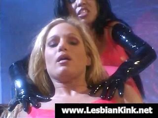 lesbians in latex are getting nude and licking
