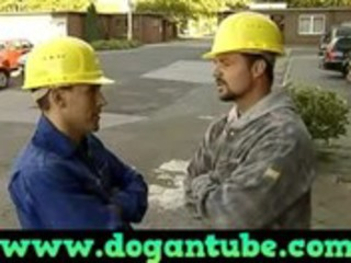 german mamma drilled by construction workers -