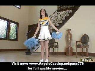 dark brown cheerleader flashing pants and doing