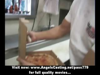 hot blond mother i does blowjob for pizza lad and
