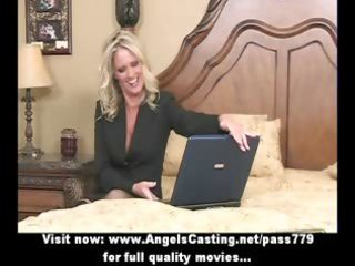 bored blond milf with laptop undressing and