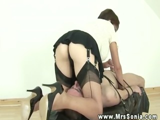 older euro in nylons tugging cock for fortunate