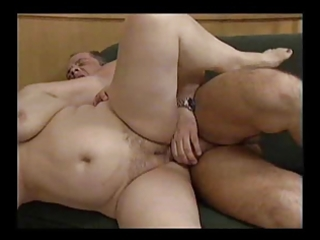 Two horny fat grannies with a man