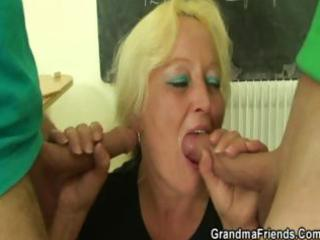 fat granny teacher drilled all over the class