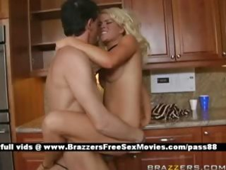 concupiscent golden-haired wife in the kitchen