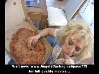 rich blond does blowjob and handjob for two pizza