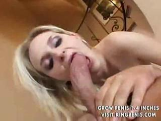 busty golden-haired milf sucks a cock and then
