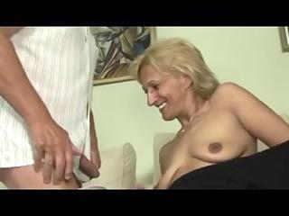 blond mature masturbates and sucks and bonks with