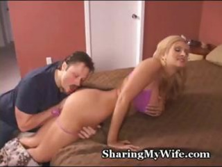 sexy blond wife is glad to share her soaked twat